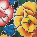 Tablecloth - Mexican Oilcloth (Black Floral)