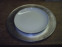 Plate Chargers, 13 inch diameter, plastic, silver color, 13 each
