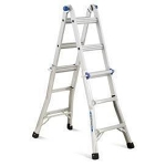 "Ladder, Aluminum, folding, with scaffold adapters, , 18 feet max reach extension, , 11' 8"" A ladder"
