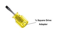 "Screwdriver, slotted, Blade 2 inches long, 3/8 in. tip handle has 3/8"" square socket adapter"