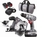 "Drill/driver, cordless, 5 1/2"" circular saw, flashlight, 18V"