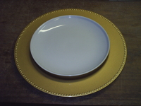 Plate Chargers, 13 inch diameter, plastic, gold color, 13 each