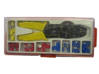 Wire crimper, stripper, cutter with crimp connectors
