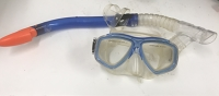 Blue snorkel and goggles, orange mouthpiece