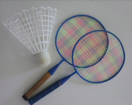 Badminton rackets with big birdie