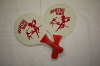 Beach Ball Paddles - Pair - Wooden, White with red handle