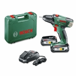 Drill driver with battery and charger comes in green case - Bosch 18v