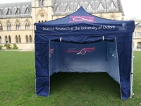 'Science Research' branded gazebo