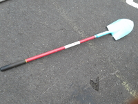 Spade shovel blue tip red handle