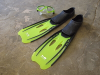 Adult size flippers and mask