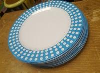 plate (plastic blue polkadot)