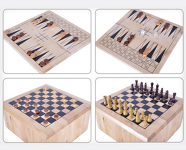 10-in-1 Wooden Classic Board Games