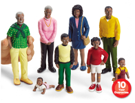 Block Play People - 8 pc Black Family