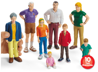 Block Play People - 8 pc White Family