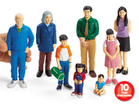 Block Play People - 8 pc Asian Family