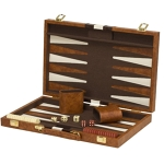 Backgammon Set w Leather Travel Case