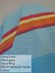 Lenny Lamb Wrap Blue with multi stripe Blue Lagoon Cotton Size 6