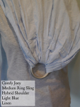 Comfy Joey Ring Sling Blue linen Gathered Shoulder VA Weekend Medium