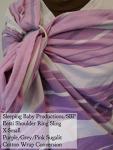 Sleeping Baby Productions/SBP Ring Sling Sugilit - Purple, pink, grey stripes LF WCRS Eesti Shoulder VA Tuesday XS