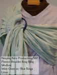 Sleeping Baby Productions/SBP Ring Sling Mint Green w/blue rings Linen SBP Pleated Shoulder MD Thursday Medium