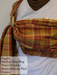 Bugglet Ring Sling Maroon/brown plaid pleated shoulder Medium