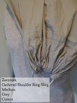 Zanytoes Ring Sling Grey Cotton Gathered Shoulder VA Weekend Medium