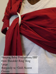Sleeping Baby Productions/SBP Ring Sling Burgundy w/ gold Woven Cotton Eesti Shoulder MD Thursday Large