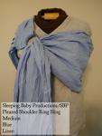 Sleeping Baby Productions/SBP Ring Sling Blue w/ Silver rings Linen, SBP Pleated Shoulder Medium