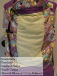 Kindercarry Kinderpack Purple straps, printed purple and blue floral with green solar veil Preschool/STD