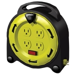 Stanley 33958 4-Outlet 20-Foot Grounded All-Weather Outdoor Power Cord, Black Cord/Yellow Case