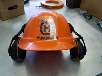 Orange safety hat with ear protection