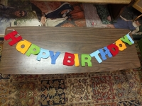 Happy Birthday cloth letters