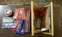 knitting tools needles and bag
