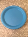 "Set of 4 blue plastic 10"" plates"