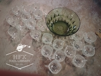 Punch bowl and 24 glass cups