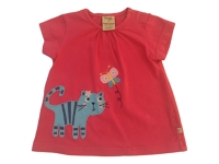 Frugi Annabel applique top in raspberry with cat, 2-3 yrs
