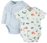 Frugi Kimono 2 pack bodysuits (dinky dinos), newborn