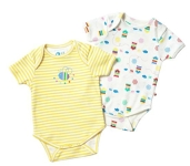 Piccalilly 2 pack bodysuits (beehive), 0-3 mths
