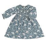 Pigeon Smock dress with Peter Pan collar (teal hares), 1-2 yrs