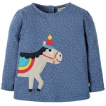 Frugi Connie applique blue dot / horse ls top, 12-18 mths