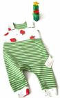 Biau-Biau Green stripe / strawberries romper, 3-6 mths