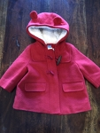 0-6 month red girls dress coat
