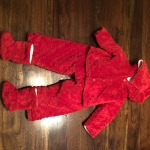 0-6 month red 2 piece fleece suit with booties