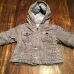 0-6 month grey fleece lined winter coat