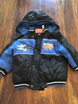 2T Black and Blue Cars Winter Jacket