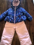 2T girls 2 piece snow suit, blue floral and pink